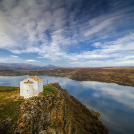 Close To God by Philip Peynerdjiev - Landscapes Waterscapes ( amazing, clouds, sky, god, lake, view, chapel )
