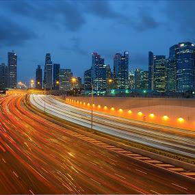 Leading to Lion City by Kafoor Sammil - City,  Street & Park  Night ( marina coastal express way, mce, singapore )