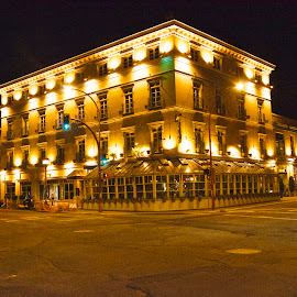 Swan's Hotel at night. (gleaming Gold) by Cory Bohnenkamp - Buildings & Architecture Office Buildings & Hotels ( swans, long exposure, night, victoria, hotel, gold, bc )