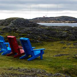 At The Ready by Jon Feldman - Landscapes Travel ( muskoka chairs, peace, solitude, seaside, tranquility, adirondak chairs, green grass )