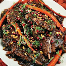 Bruce Aidells' Turkish Pomegranate-Glazed Lamb Shoulder Chops and Carrots