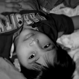 The Kid by Kumud Lekhok - Babies & Children Child Portraits ( black and white, random, morning, hair, kid )