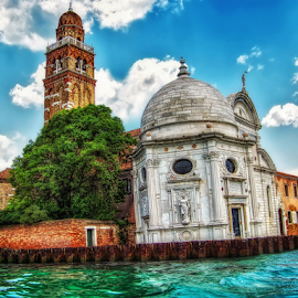San Michele in isola by Andrea Conti - Buildings & Architecture Public & Historical ( water, clouds, tower bell, building, italua, church, waterscape, sea, seascape, architecture, landscape, san michele in isola, historic, island, venezia, tower, venice, chiesa, public, italy )