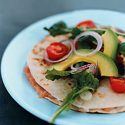 Smoked-Salmon Quesadillas with Warm Tomatoes and Arugula