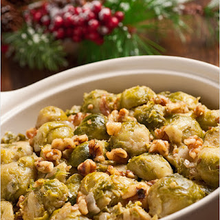 Creamy Braised Brussels Sprouts with Toasted Walnuts