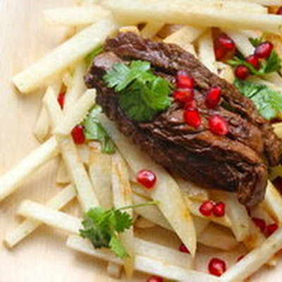 Make-Ahead Jicama Salad with Seared Steak, Pomegranate and Cilantro