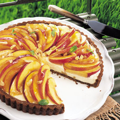 Nectarine and Mascarpone Tart in Gingersnap Crust