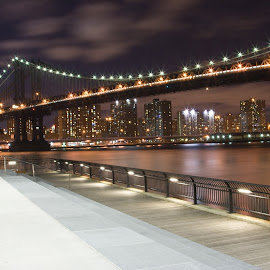 Manhattan Bridge and the NYC Skyline by Debbie Quick - City,  Street & Park  Skylines ( lights, urban, skyline, skyscrapers, night, manhattan, new york city, bridge, nyc, twinkle, brooklyn, city, Urban, City, Lifestyle )