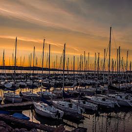 by Doug Wallick - Transportation Boats ( pepin, minnesota, sail, lake, sunrise, boat, lake city, mississippi )