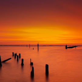 Fire in the Heavens by Padma Inguva - Landscapes Sunsets & Sunrises ( atlantic highlands, sunrise, new jersey )