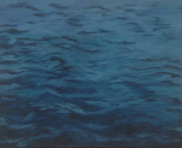 Blue Waves <br> Acrylic paint on canvas <br> 16 x 20 in