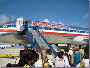Boarding the AA plane