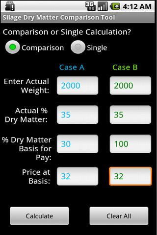 Wet Feed Comparison Tool