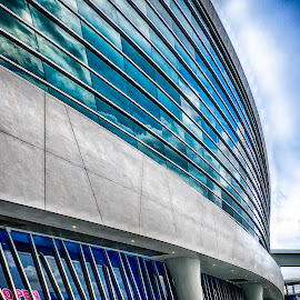 A View of Miami Marlins Stadium by Richard Friedkin - Buildings & Architecture Architectural Detail ( outside stadium, glass wall, stadium, reflections, partial view )