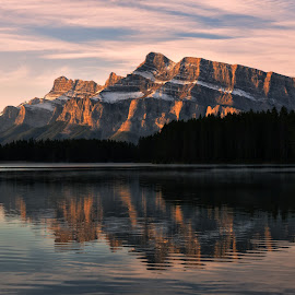 Two Jack Lake Reflection by Jeff Clow - Landscapes Mountains & Hills ( two jack lake, reflection, mountain, canada, alberta, mount rundle, lake, travel, landscape, morning )