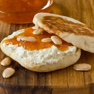 English Muffins with Apricot Preserves & Feta Spread