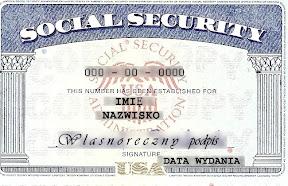 Kartka z moim numerem SSN
