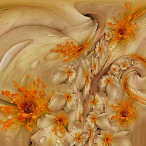 FLOWERS RAIN by Carmen Velcic - Digital Art Abstract ( abstract, orange, drops, yellow, flowers, digital, rain )