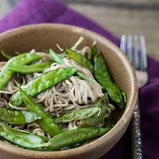 Roasted Snap Peas and Soba Noodles with Honey Soy Dressing