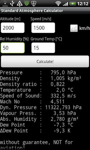 Standard Atmosphere Calculator