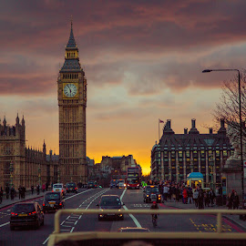 Big Ben at Dusk by Tyler McAndrew - City,  Street & Park  Street Scenes ( london, sunset, bridge, sunrise, ben, big )