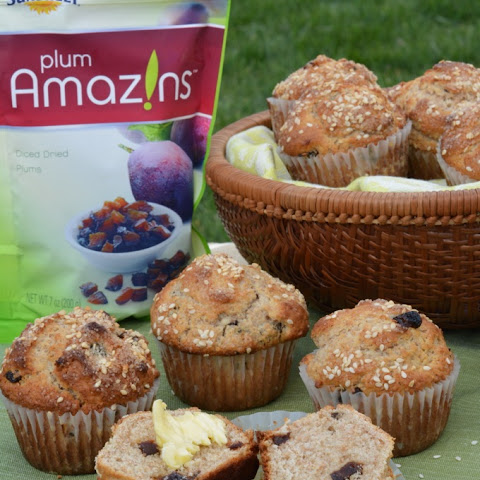 Whole Wheat Gingered Sesame Plum Muffins
