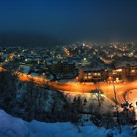 Etropole by Nikolay Stoilov - City,  Street & Park  Neighborhoods ( winter, blue, snow, street, etropole, night, town, light, bulgaria )