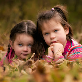 Autumn Sessions by Dominic Lemoine Photography - Babies & Children Child Portraits ( girls, autumn, togetherness, leaves, siblings, bokeh )