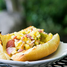 Hot Dogs with Pineapple Bacon Relish