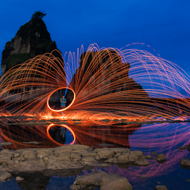 Playing at Blue Hour by Aditya Permana - Abstract Fire & Fireworks