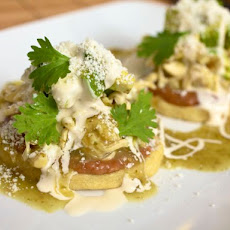 Sopes de Pollo con Frijoles (Chicken Sopes with Beans)