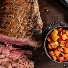 Balsamic-Marinated Grilled Flank Steak with Bell Pepper Relish Recipe