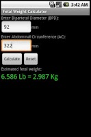 Screenshot of Fetal Weight Calculator