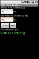 Screenshot of Fetal Weight Calculator