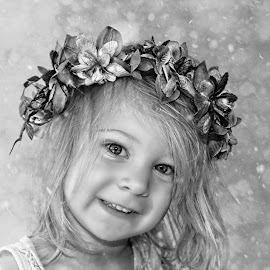Snow Angel Bw by Kelly Murdoch - Babies & Children Child Portraits ( face, model, petals, black & white, bw, ztam, eyes, pose, girl, head dress, female, snow, flowers, toddler, mono, petal )