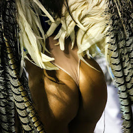 Tail Feathers  by Samy St Clair - People Body Parts ( buttocks, thong, carnival, behind, candid, brazilian, feathers, brasil, brazil, carnaval, butt, samba, dancer )