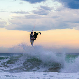 Always aim high! by Uros Kekus Kleva - Sports & Fitness Surfing ( swell, surfing, surfer, sunset, wave, france, aerial )