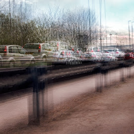 Traffic Jam by Graham Briggs - Digital Art Places ( multiple exposure art traffic jam urban street pile up )