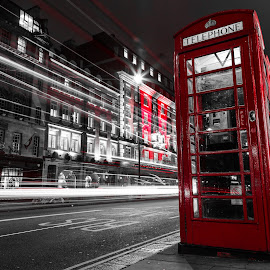 Red London by Stephen Bridger - City,  Street & Park  Street Scenes ( uk, europe, travel, united kingdom, street photography, england, red, london, great britain, light trails, telephone booth, travel photography, britain )