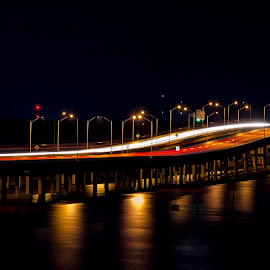 Night Bridge by RomanDA Photography - Buildings & Architecture Bridges & Suspended Structures ( breeze, 2014, sunset, gulf, long exp, spring )