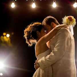 lights by Jorge Asad - Wedding Bride & Groom ( lights, night, party, bride, groom )