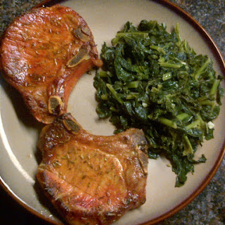 Spanish Style Pan-Seared Pork Chops with Sautéed Garlic Kale