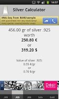 Screenshot of Silver Price Calculator Live