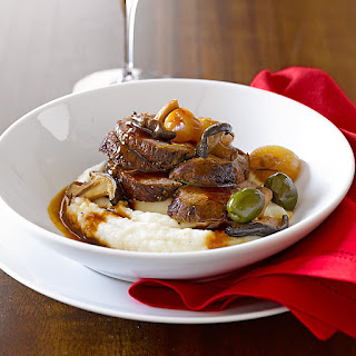 Braised Beef with Cipollini Onions, Shiitakes and Olives