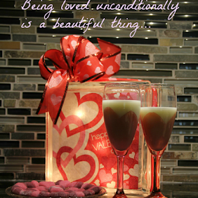 Unconditional Love by Freda Nichols - Typography Captioned Photos ( two, reflection, hearts, glasses, candy, ribbon, caption, valentine, love, postcard, valentine's day )