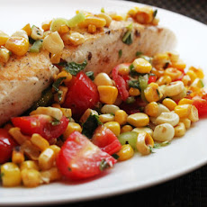 Skillet Halibut with Charred Corn Salad