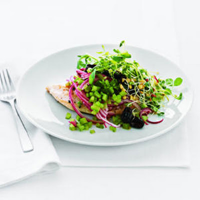 Chicken Paillard with Black Olive and Sprout Salad