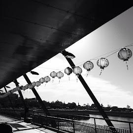 Lantern walk by Di Mc - Instagram & Mobile iPhone ( black n white, lantern, architecture, bridge, city )