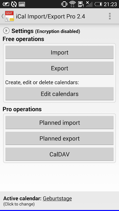 iCal Import/Export CalDAV Pro Screenshot
