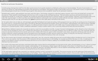 Screenshot of TOEFL Reading